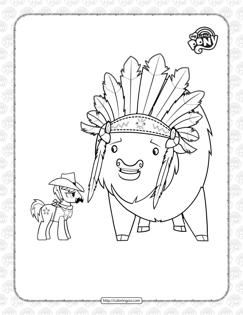 Printable MLP Over a Barrel Pdf Coloring Page