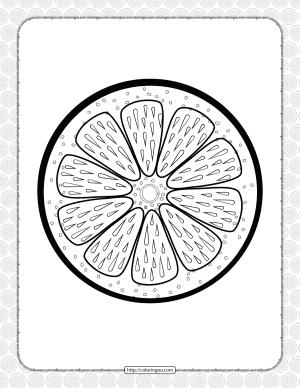 Printable Orange Slice Pdf Coloring Page