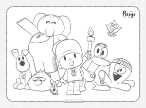 Printable Pocoyo and Friends Pdf Coloring Page
