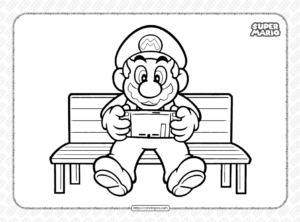 Printable Super Mario Playing Game Coloring Page
