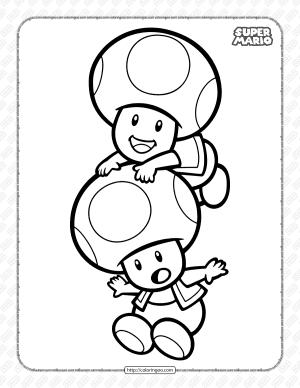 Printable Super Mario Toads Coloring Page