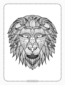 Printable Zentangle Lion Head Coloring Book