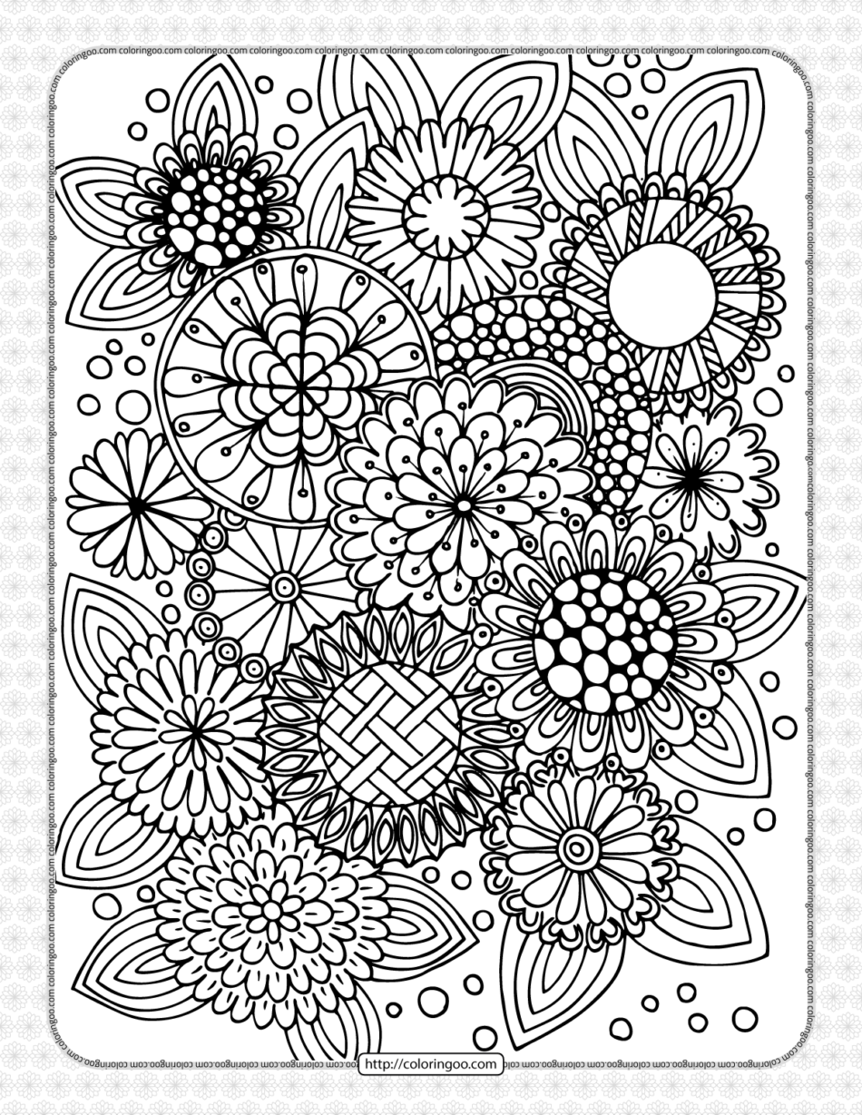 Summer Flowers Pdf Coloring Page