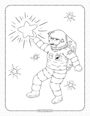 Astronaut Touching The Star Coloring Page