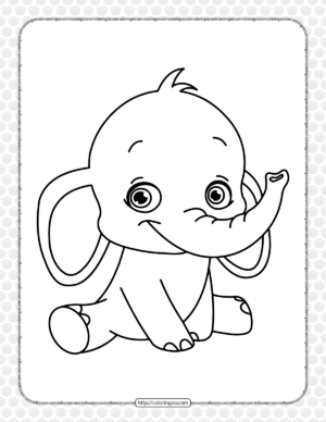 Baby Elephant Coloring Page for Kids