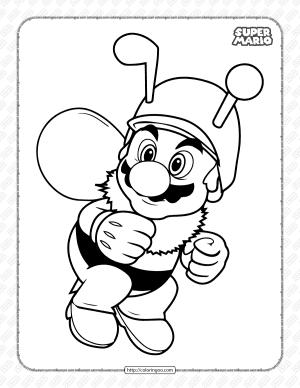 Bee Mario Pdf Coloring Page