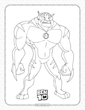 Ben 10 Rath Pdf Coloring Page for Kids