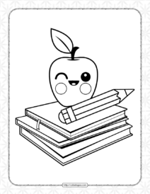Books with Smiling Apple Coloring Page
