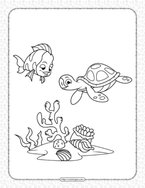 Coral Reef Fish and Sea Turtle Coloring Page