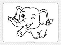 Cute Baby Elephant Coloring Page for Kids