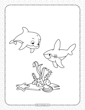 Cute Dolphin and Shark Coloring Page for Kids