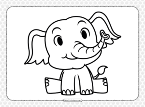 Cute Elephant Coloring Page for Kids