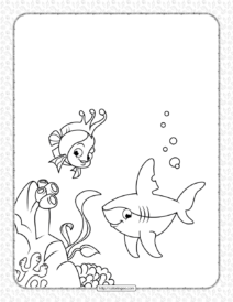 Cute Shark and Coral Reef Fish Coloring Page