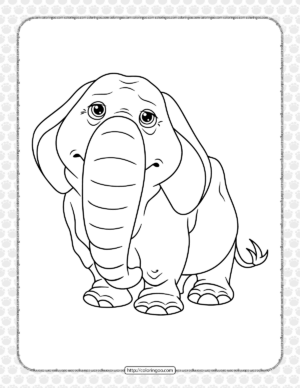 Elderly Elephant Coloring Page for Kids