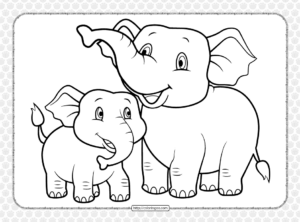 Elephant and Calf Coloring Page for Kids