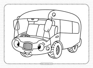 Free Printable Bus Pdf Coloring Page
