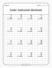 Free Printable Grade 1 Subtraction Pdf Worksheet
