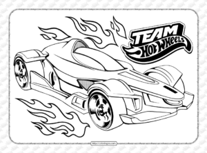 Free Printable Team Hot Wheels Pdf Coloring Pages