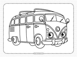 Free Printable Volkswagen Bus Coloring Page