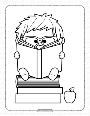 Kid Reading a Book Coloring Page