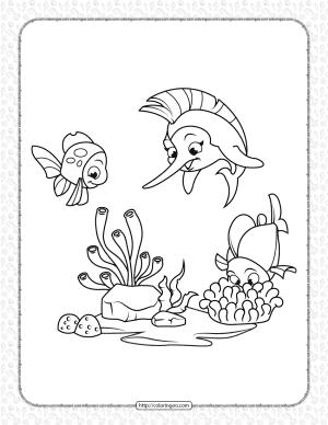 Marlin and Coral Fish Coloring Page