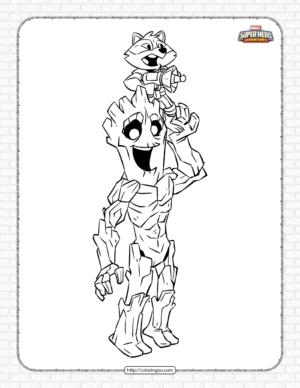 Marvel Rocket and Groot Pdf Coloring Pages