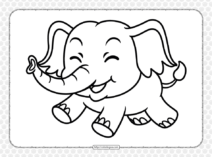 Printable Cute Elephant Coloring Page for Kids