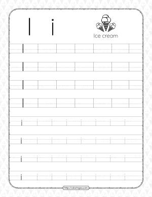 Printable Dotted Letter I Tracing Pdf Worksheet