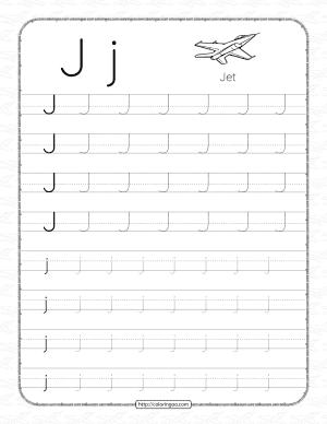 Printable Dotted Letter J Tracing Pdf Worksheet