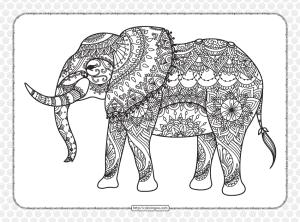 Printable Elephant Mandala Pdf Coloring Page