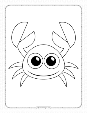Printable Little Cute Crab Pdf Coloring Page