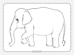 Printable Old Elephant Coloring Page for Kids