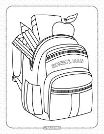 Printable School Bag Pdf Coloring Page