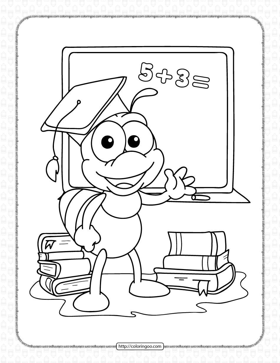 Printable Smart Bee Coloring Page