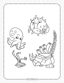 Puffer Fish and Octopus Coloring Page