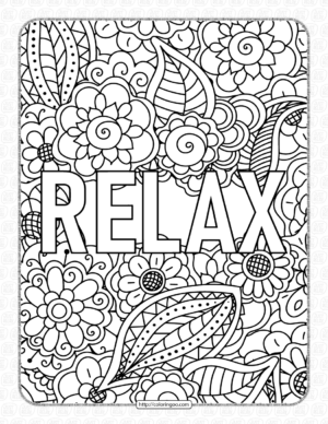 Relax Pdf Coloring Page for Adults