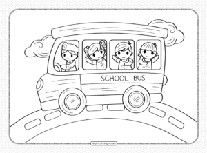 School Bus Coloring Page for Boys