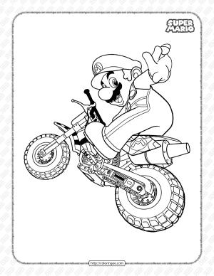 Super Mario Rides a Motorbike Coloring Page