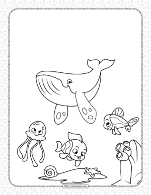 Whale Jellyfish and Coral Reef Fish Coloring Page