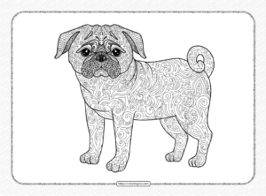 Zentangle Pug Dog Coloring Page for Adults