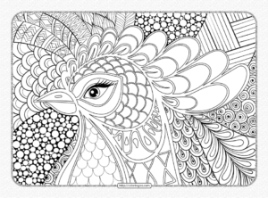 Zentangle Rooster Head Coloring Page for Adults