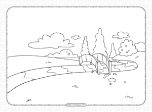 Bridge Over the River Coloring Page