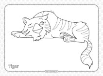 Cute Tiger Pdf Coloring Pages