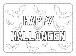 Happy Halloween Text Coloring Pages