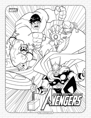 Marvel The Avengers Characters Coloring Page