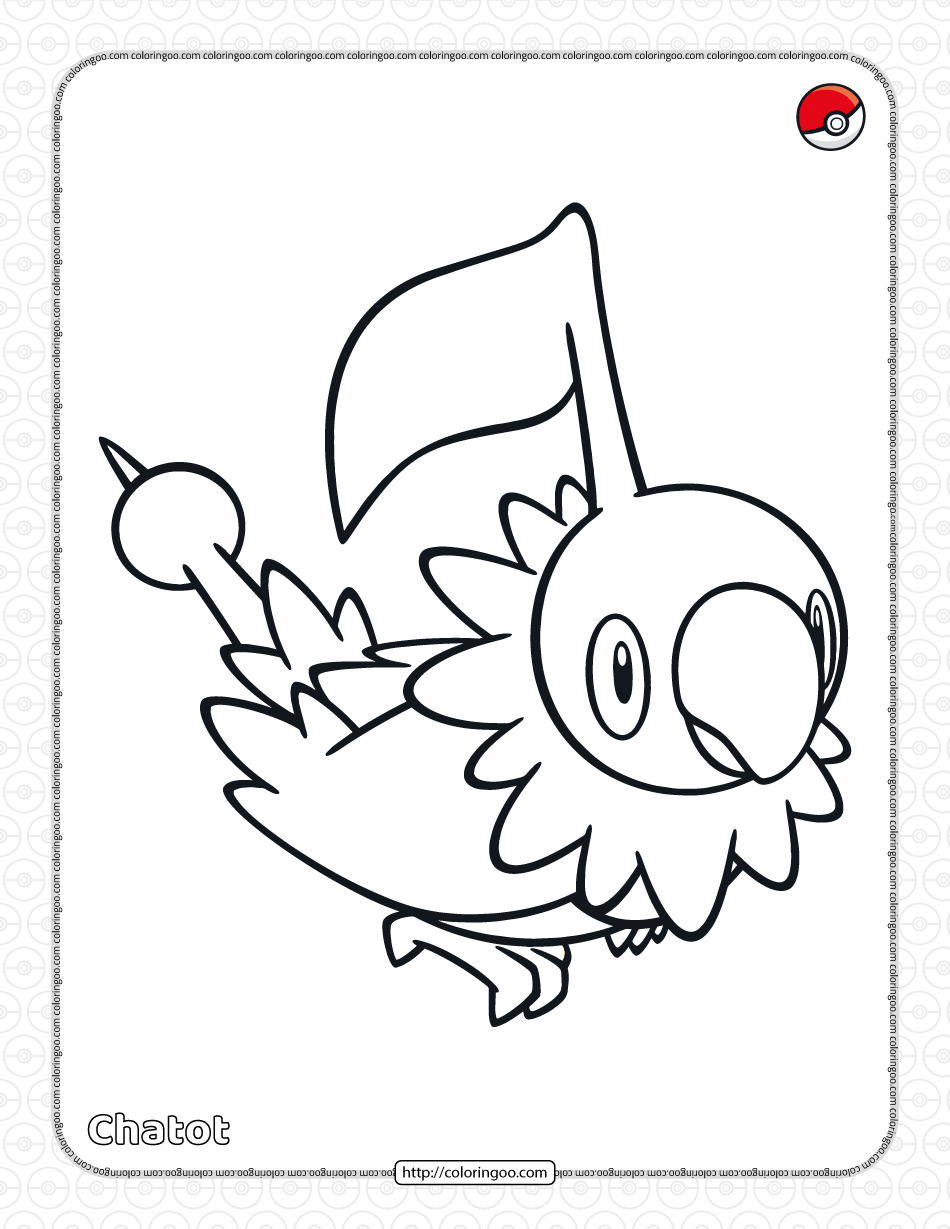 Pokemon Chatot Coloring Pages for Kids