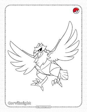 Pokemon Corviknight Pdf Coloring Pages