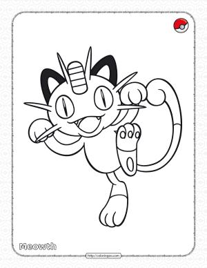 Pokemon Meowth Pdf Coloring Page