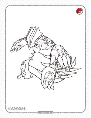 Pokemon Primal Groudon Coloring Page