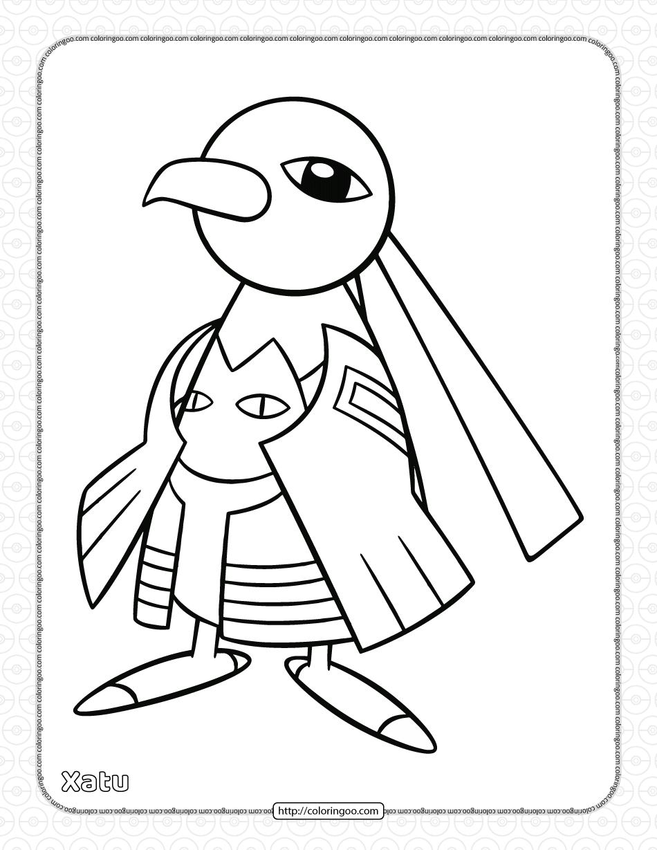 Pokemon Xatu Coloring Pages